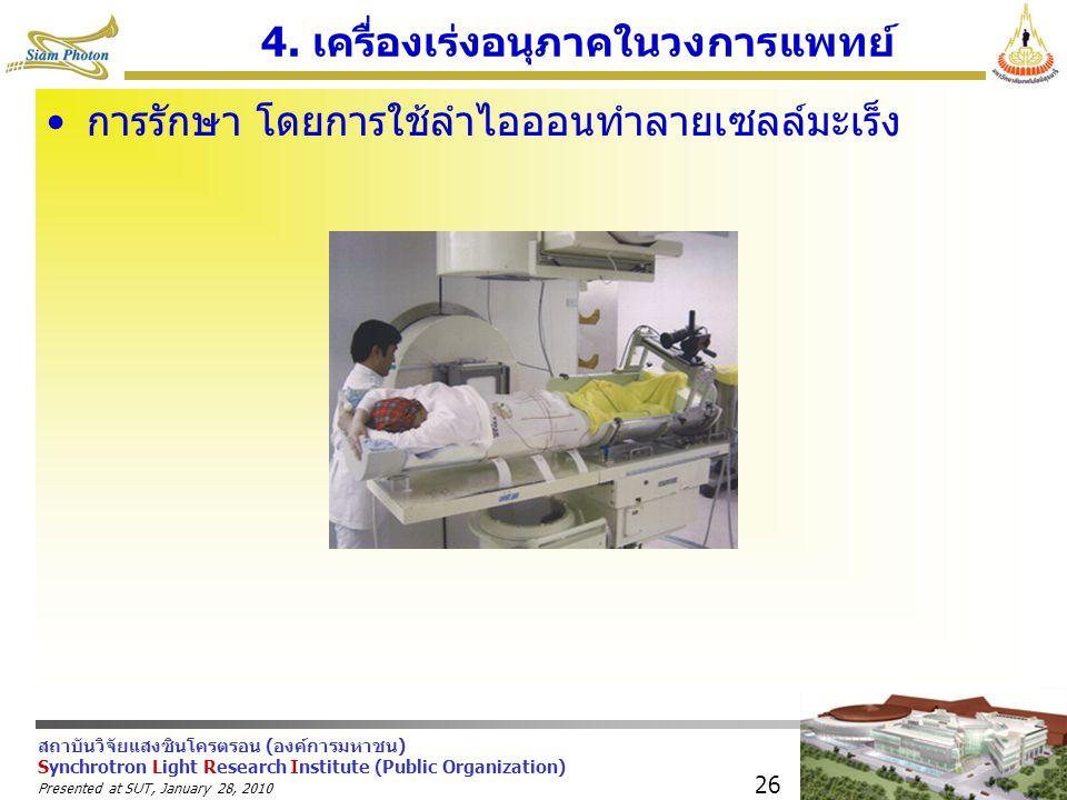 สถาบันวิจัยแสงซินโครตรอน (องค์การมหาชน) Synchrotron Light Research Institute (Public Organization) Presented at SUT, January 28, 2010 26 4. เครื่องเร่
