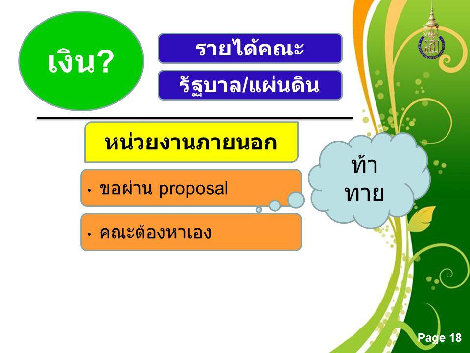 Free Powerpoint Templates Page 18 เงิน ? รายได้คณะ รัฐบาล / แผ่นดิน หน่วยงานภายนอก • ขอผ่าน proposal • คณะต้องหาเอง ท้า ทาย