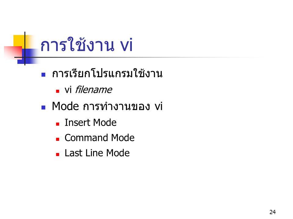 24 การใช้งาน vi  การเรียกโปรแกรมใช้งาน  vi filename  Mode การทำงานของ vi  Insert Mode  Command Mode  Last Line Mode