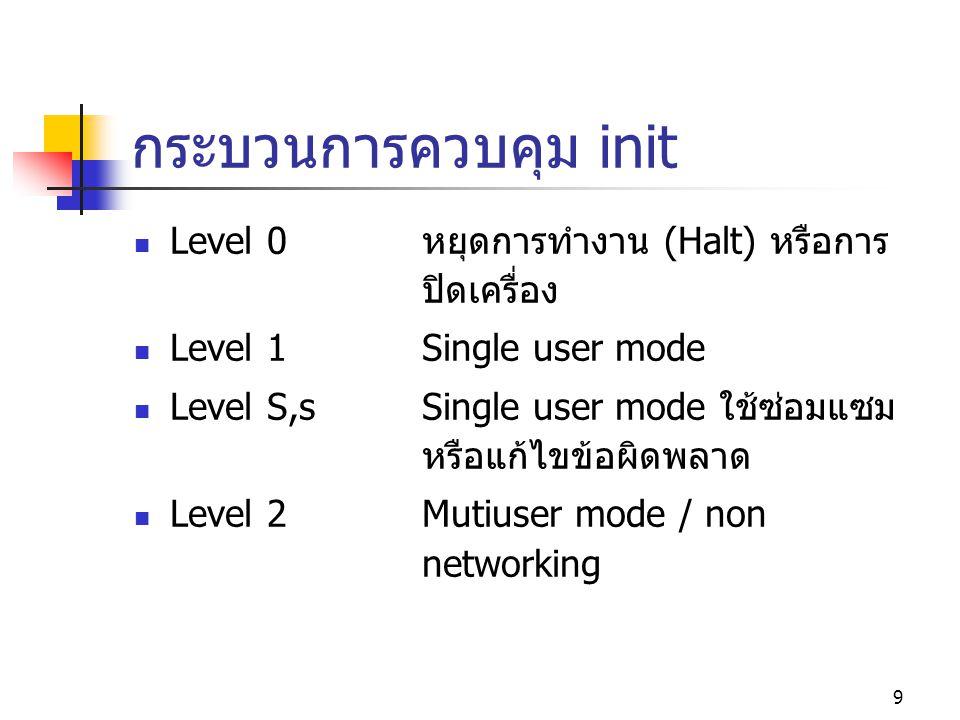 9 กระบวนการควบคุม init  Level 0หยุดการทำงาน (Halt) หรือการ ปิดเครื่อง  Level 1Single user mode  Level S,sSingle user mode ใช้ซ่อมแซม หรือแก้ไขข้อผิ