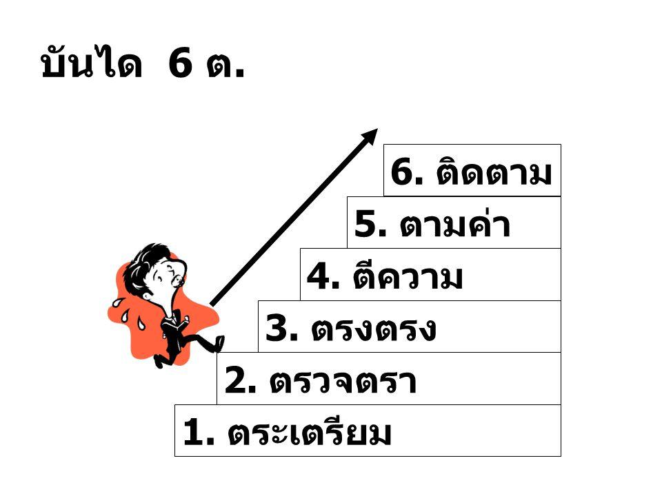บันได 6 ต. 1. ตระเตรียม 3. ตรงตรง 2. ตรวจตรา 4. ตีความ 5. ตามค่า 6. ติดตาม