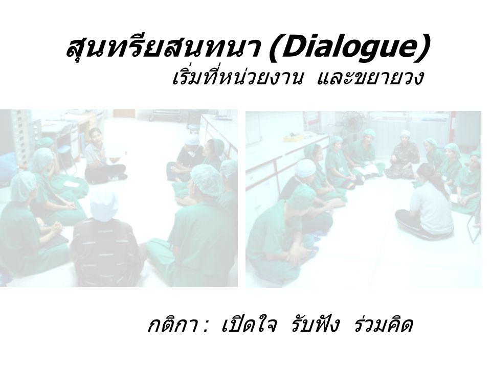 สุนทรียสนทนา (Dialogue) กติกา : เปิดใจ รับฟัง ร่วมคิด เริ่มที่หน่วยงาน และขยายวง
