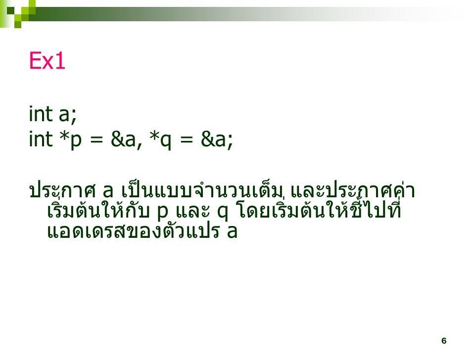 6 Ex1 int a; int *p = &a, *q = &a; ประกาศ a เป็นแบบจำนวนเต็ม และประกาศค่า เริ่มต้นให้กับ p และ q โดยเริ่มต้นให้ชี้ไปที่ แอดเดรสของตัวแปร a