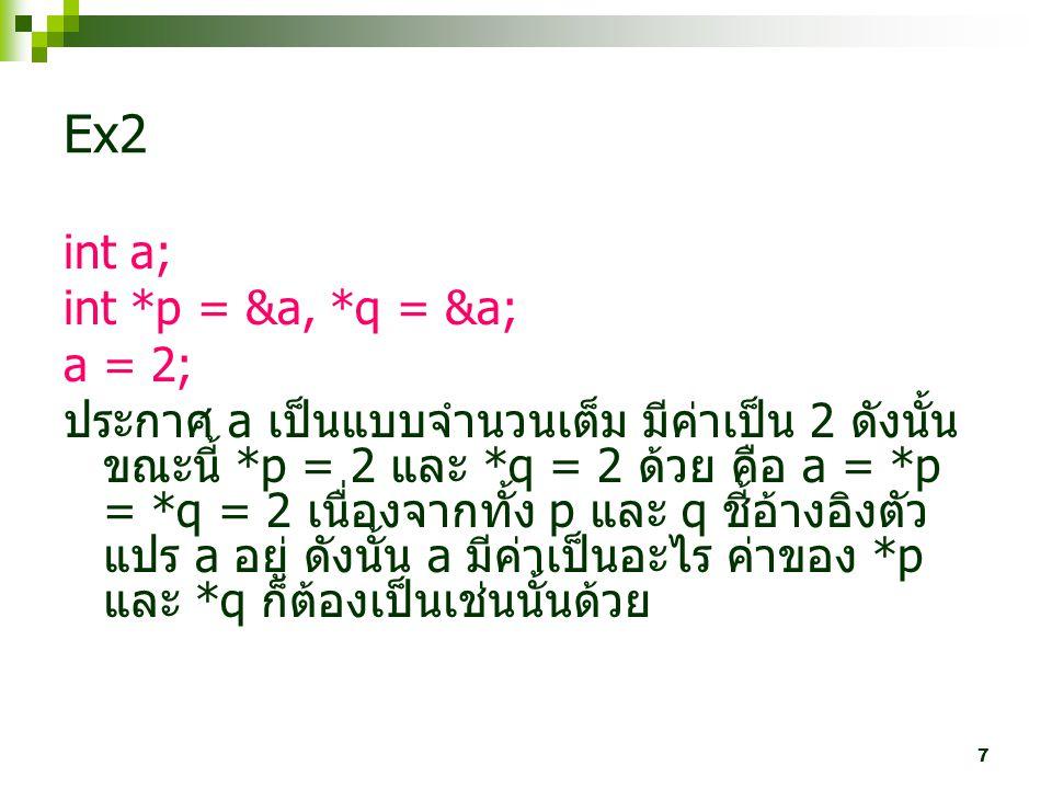 7 Ex2 int a; int *p = &a, *q = &a; a = 2; ประกาศ a เป็นแบบจำนวนเต็ม มีค่าเป็น 2 ดังนั้น ขณะนี้ *p = 2 และ *q = 2 ด้วย คือ a = *p = *q = 2 เนื่องจากทั้