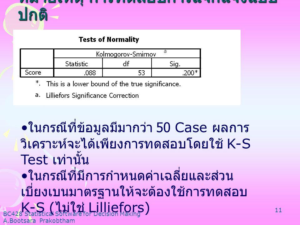BC428 Statistical Software for Decision Making A.Bootsara Prakobtham 10 ส่วนที่ 4 ส่วนที่ 4 ทดสอบสมมติฐานว่าข้อมูลมีการแจกแจงแบบ ปกติหรือไม่ 1) สมมติฐ