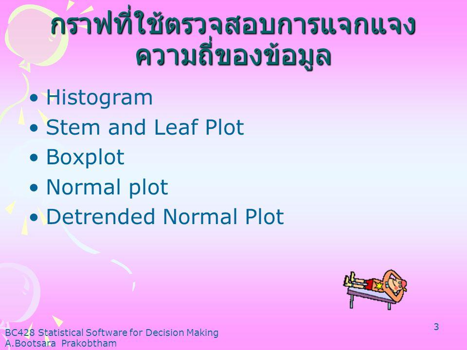 BC428 Statistical Software for Decision Making A.Bootsara Prakobtham 3 กราฟที่ใช้ตรวจสอบการแจกแจง ความถี่ของข้อมูล •Histogram •Stem and Leaf Plot •Boxplot •Normal plot •Detrended Normal Plot