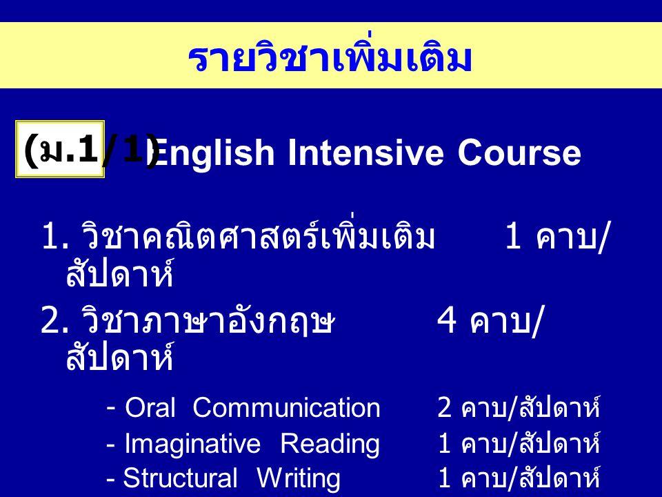 English Intensive Course 1. วิชาคณิตศาสตร์เพิ่มเติม 1 คาบ / สัปดาห์ 2. วิชาภาษาอังกฤษ 4 คาบ / สัปดาห์ - Oral Communication2 คาบ / สัปดาห์ - Imaginativ