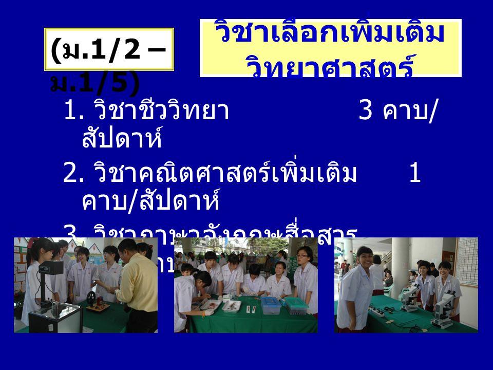 วิชาเลือกเพิ่มเติม วิทยาศาสตร์ 1. วิชาชีววิทยา 3 คาบ / สัปดาห์ 2. วิชาคณิตศาสตร์เพิ่มเติม 1 คาบ / สัปดาห์ 3. วิชาภาษาอังกฤษสื่อสาร 1 คาบ / สัปดาห์ ( ม
