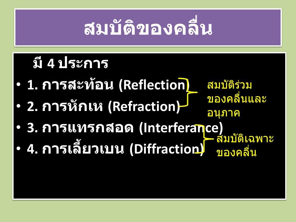 สมบัติของคลื่น มี 4 ประการ • 1. การสะท้อน (Reflection) • 2. การหักเห (Refraction) • 3. การแทรกสอด (Interferance) • 4. การเลี้ยวเบน (Diffraction) มี 4