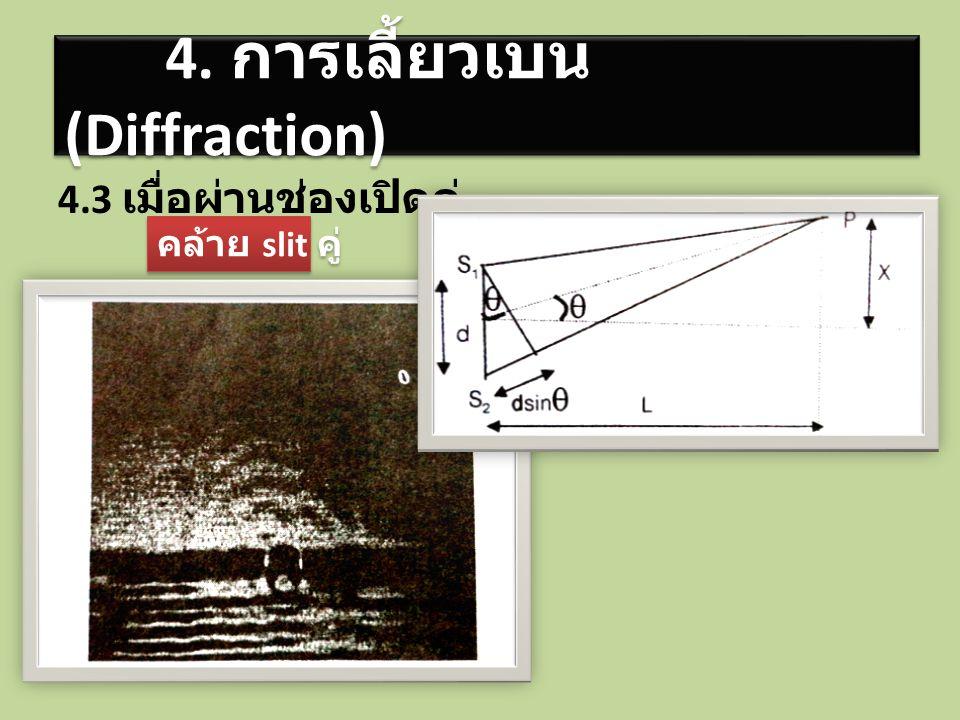 4.3 เมื่อผ่านช่องเปิดคู่ 4. การเลี้ยวเบน (Diffraction) คล้าย slit คู่