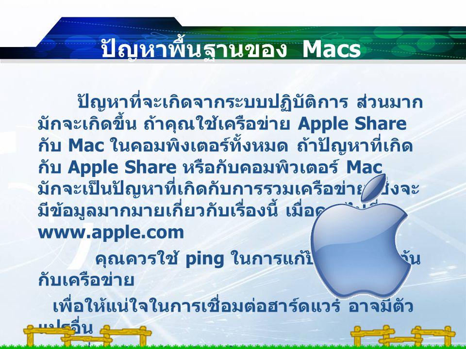 ปัญหาพื้นฐานของ Macs ปัญหาที่จะเกิดจากระบบปฏิบัติการ ส่วนมาก มักจะเกิดขึ้น ถ้าคุณใช้เครือข่าย Apple Share กับ Mac ในคอมพิงเตอร์ทั้งหมด ถ้าปัญหาที่เกิด