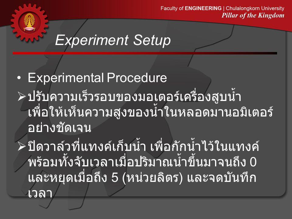 Experiment Setup •Experimental Procedure  ปรับความเร็วรอบของมอเตอร์เครื่องสูบน้ำ เพื่อให้เห็นความสูงของน้ำในหลอดมานอมิเตอร์ อย่างชัดเจน  ปิดวาล์วที่