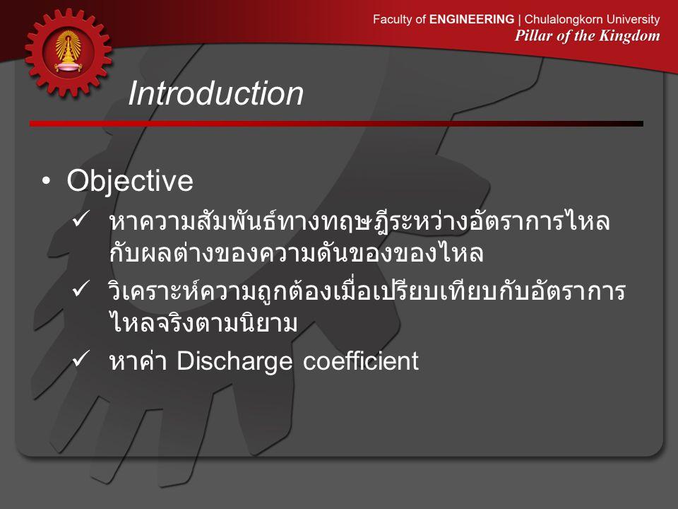Introduction •Objective  หาความสัมพันธ์ทางทฤษฎีระหว่างอัตราการไหล กับผลต่างของความดันของของไหล  วิเคราะห์ความถูกต้องเมื่อเปรียบเทียบกับอัตราการ ไหลจ