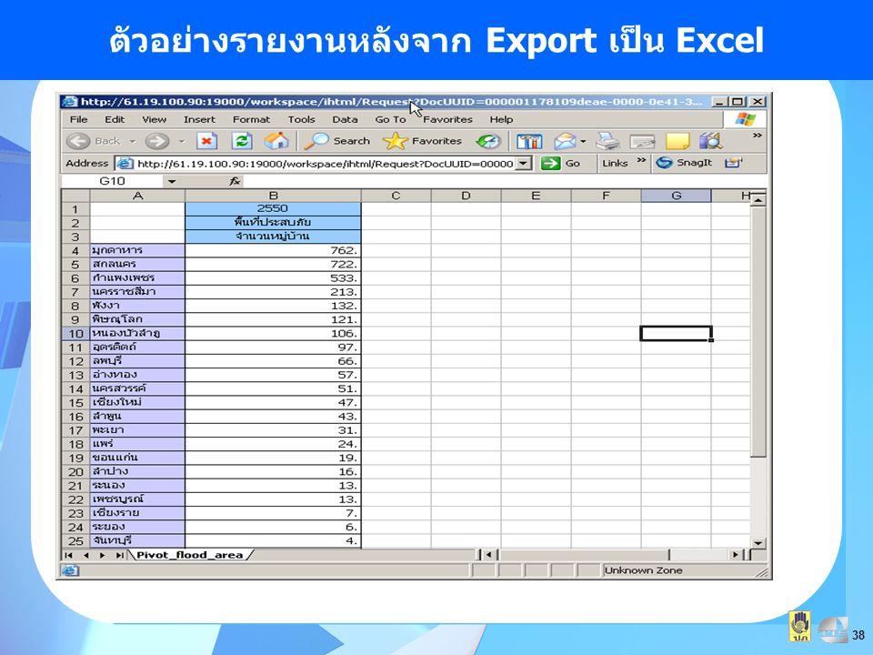 38 ตัวอย่างรายงานหลังจาก Export เป็น Excel