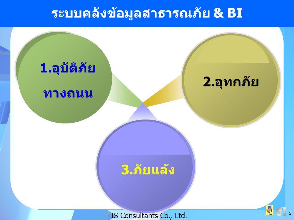 5 55 ระบบคลังข้อมูลสาธารณภัย & BI 1.อุบัติภัย ทางถนน 2.อุทกภัย 3.ภัยแล้ง TIS Consultants Co., Ltd.