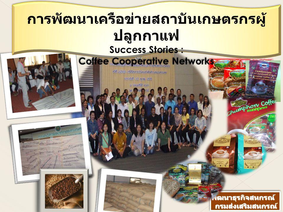 การพัฒนาเครือข่ายสถาบันเกษตรกรผู้ ปลูกกาแฟ Success Stories : Coffee Cooperative Networks การพัฒนาเครือข่ายสถาบันเกษตรกรผู้ ปลูกกาแฟ Success Stories :