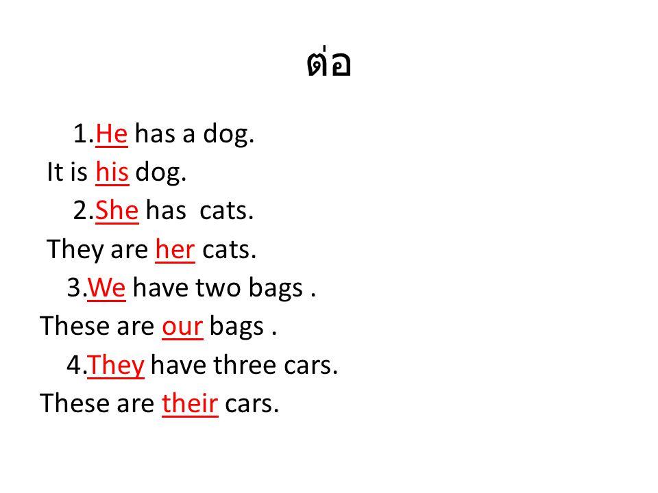 ต่อ 1.He has a dog. It is his dog. 2.She has cats. They are her cats. 3.We have two bags. These are our bags. 4.They have three cars. These are their
