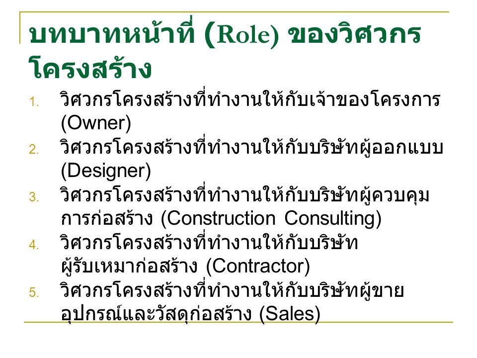 บทบาทหน้าที่ (Role) ของวิศวกร โครงสร้าง 1.วิศวกรโครงสร้างที่ทำงานให้กับเจ้าของโครงการ (Owner) 2.