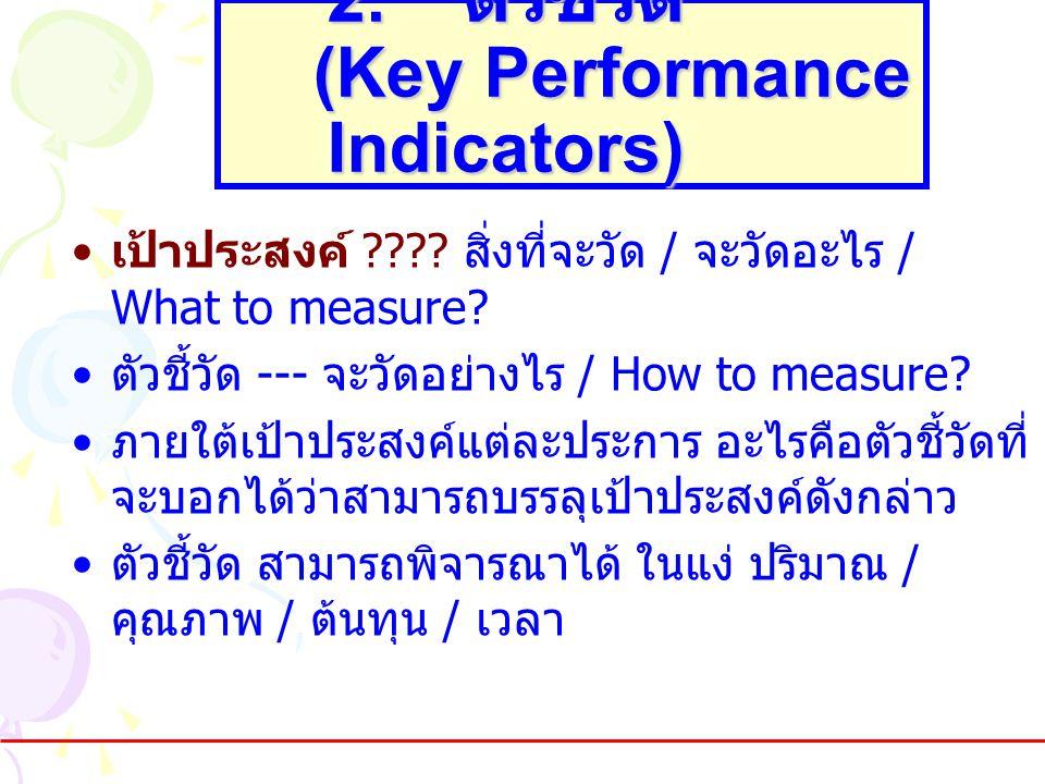 2. ตัวชี้วัด (Key Performance Indicators) •เป้าประสงค์ ???? สิ่งที่จะวัด / จะวัดอะไร / What to measure? •ตัวชี้วัด --- จะวัดอย่างไร / How to measure?