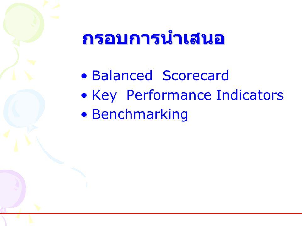 กรอบการนำเสนอ •Balanced Scorecard •Key Performance Indicators •Benchmarking