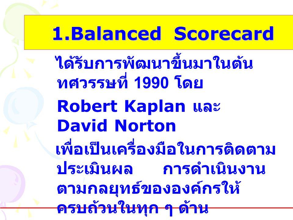 1.Balanced Scorecard 1.Balanced Scorecard ได้รับการพัฒนาขึ้นมาในต้น ทศวรรษที่ 1990 โดย Robert Kaplan และ David Norton เพื่อเป็นเครื่องมือในการติดตาม ป