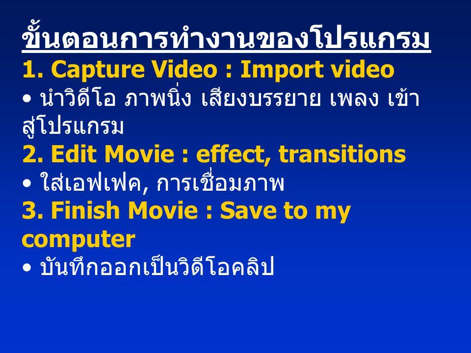 ขั้นตอนการทำงานของโปรแกรม 1. Capture Video : Import video • นำวิดีโอ ภาพนิ่ง เสียงบรรยาย เพลง เข้า สู่โปรแกรม 2. Edit Movie : effect, transitions • ใส