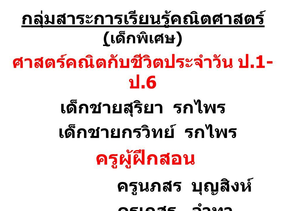 กลุ่มสาระการเรียนรู้ภาษาไทย ( เด็ก พิเศษ ) นักข่าวรุ่นเยาว์ ป.1- ป 6 เด็กหญิงอภิสรา รพินณิภา วาดภาพ ม.1- ม.3 เด็กชายอนุพงศ์ รกไพร ครูผู้ฝึกสอน ครูเนตรนรินร์ วีรเชวงกุล