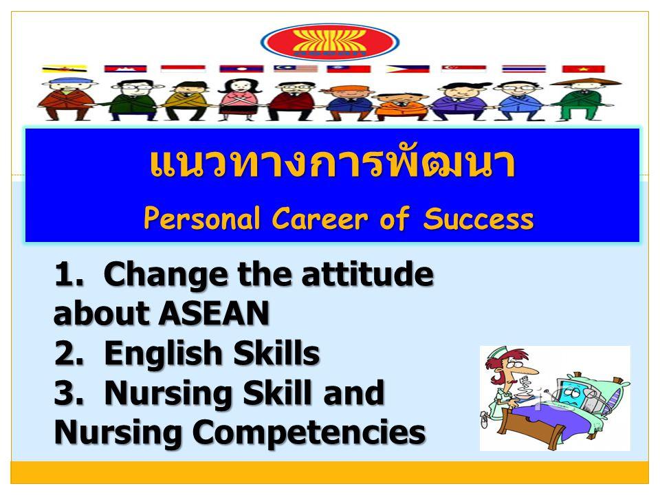 แนวทางการพัฒนา Personal Career of Success Personal Career of Success 1. Change the attitude about ASEAN 2. English Skills 3. Nursing Skill and Nursing