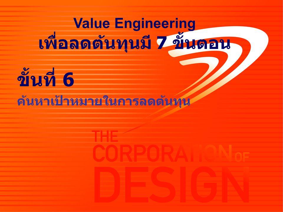 ขั้นที่ 6 ค้นหาเป้าหมายในการลดต้นทุน Value Engineering เพื่อลดต้นทุนมี 7 ขั้นตอน