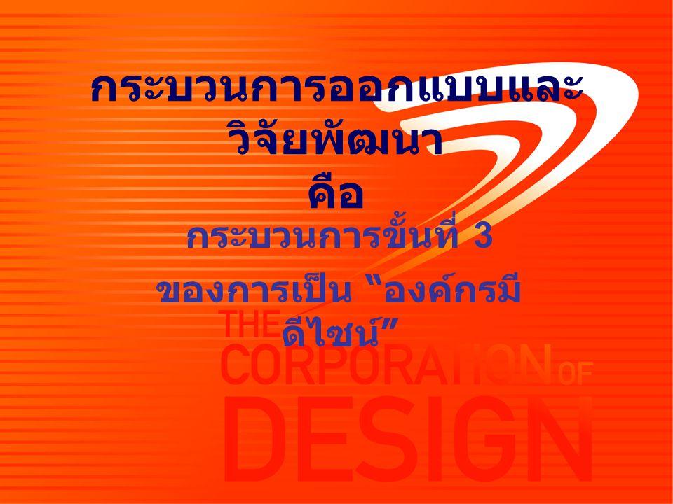 """กระบวนการออกแบบและ วิจัยพัฒนา คือ กระบวนการขั้นที่ 3 ของการเป็น """" องค์กรมี ดีไซน์ """""""