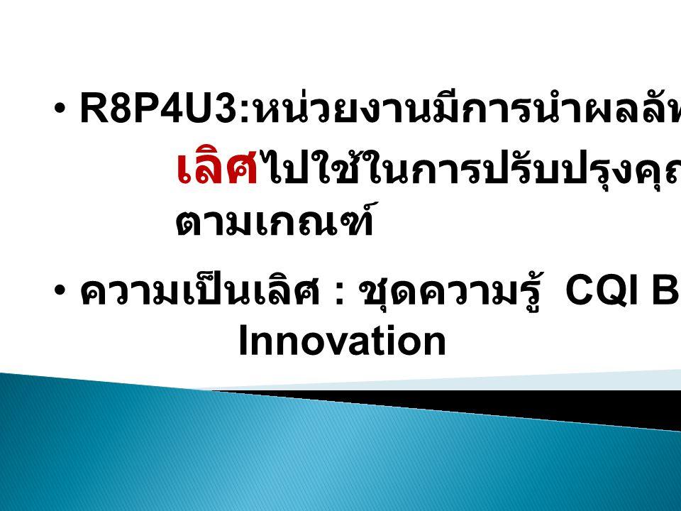 • R8P4U3: หน่วยงานมีการนำผลลัพธ์จาก ความเป็น เลิศ ไปใช้ในการปรับปรุงคุณภาพงาน ตามเกณฑ์ • ความเป็นเลิศ : ชุดความรู้ CQI Best Practice Innovation