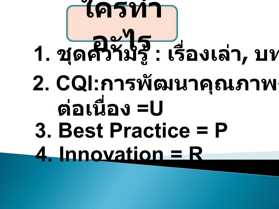 1. ชุดความรู้ : เรื่องเล่า, บทความ =I 2. CQI: การพัฒนาคุณภาพงานอย่าง ต่อเนื่อง =U 3.