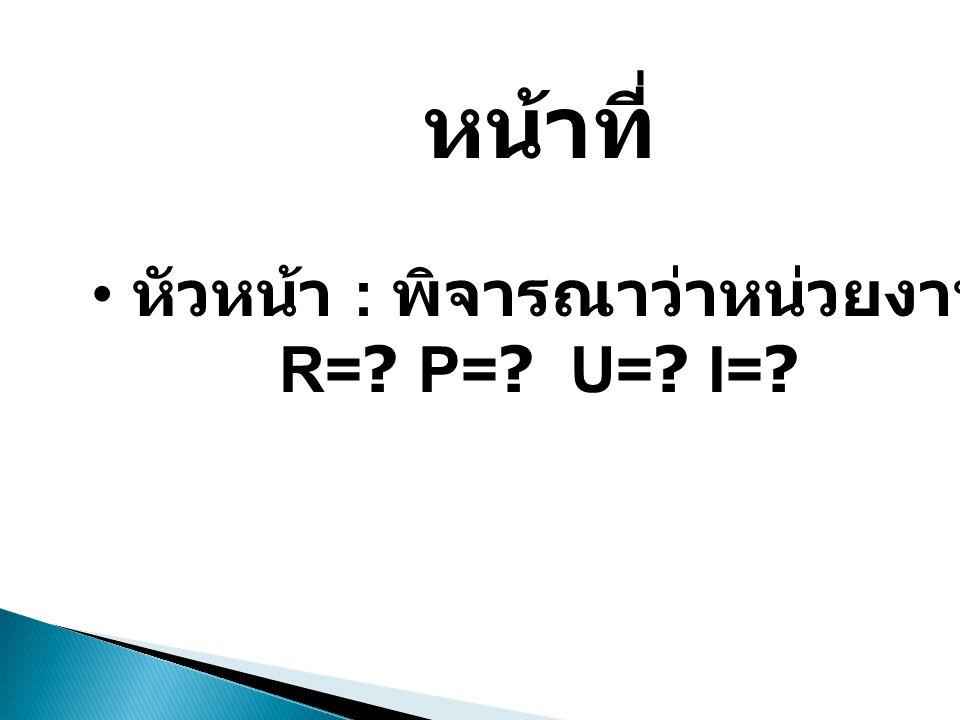 หน้าที่ • หัวหน้า : พิจารณาว่าหน่วยงานมีใครบ้าง R=? P=? U=? I=?