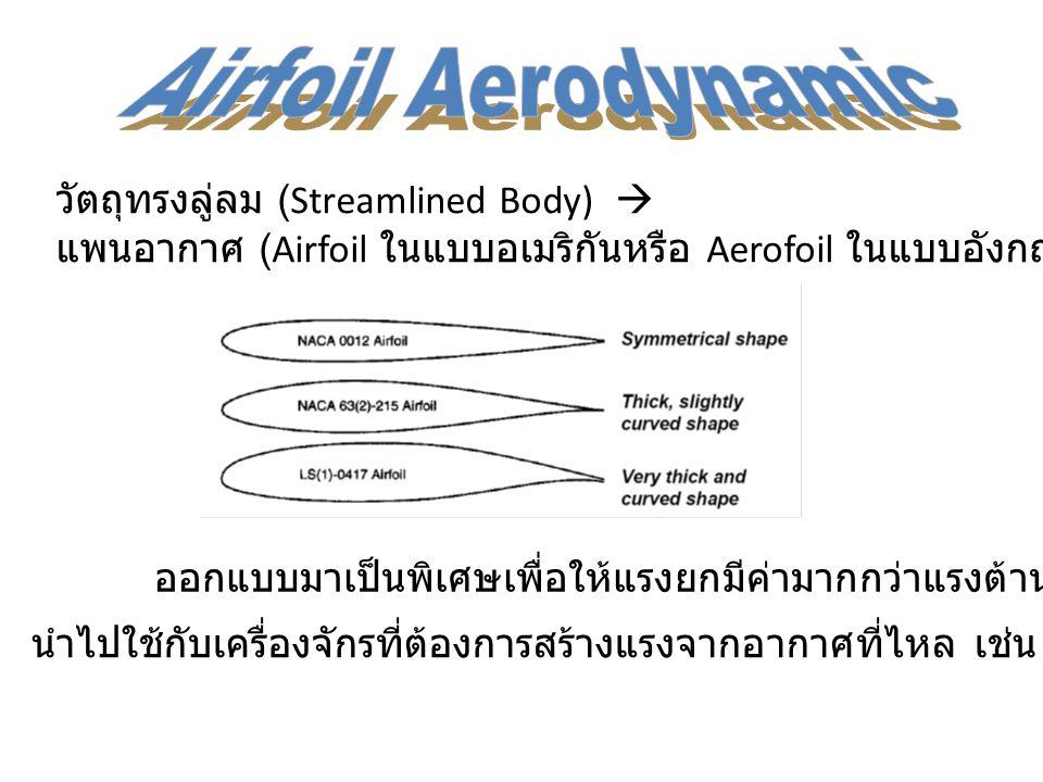 วัตถุทรงลู่ลม (Streamlined Body)  แพนอากาศ (Airfoil ในแบบอเมริกันหรือ Aerofoil ในแบบอังกฤษ ) ออกแบบมาเป็นพิเศษเพื่อให้แรงยกมีค่ามากกว่าแรงต้านมากๆ นำ