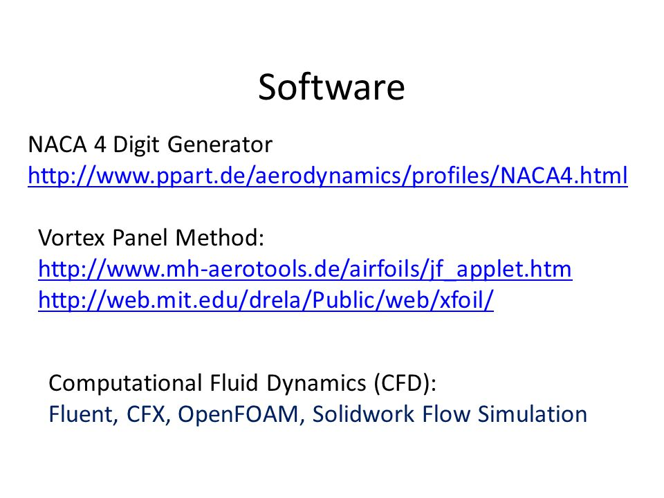 Software NACA 4 Digit Generator http://www.ppart.de/aerodynamics/profiles/NACA4.html Vortex Panel Method: http://www.mh-aerotools.de/airfoils/jf_apple