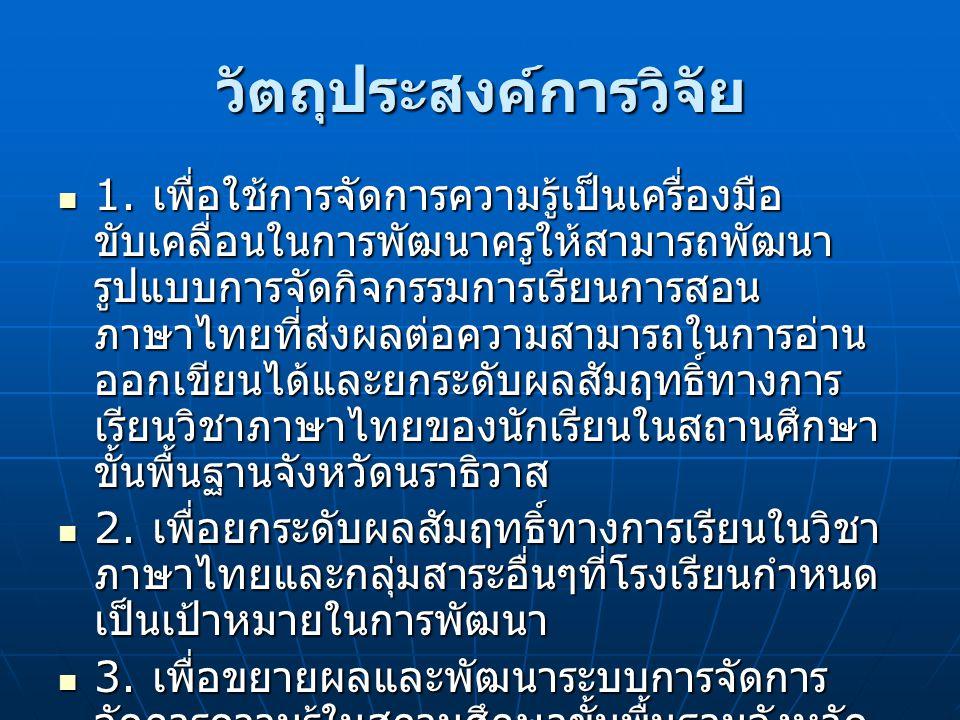 วัตถุประสงค์การวิจัย  1. เพื่อใช้การจัดการความรู้เป็นเครื่องมือ ขับเคลื่อนในการพัฒนาครูให้สามารถพัฒนา รูปแบบการจัดกิจกรรมการเรียนการสอน ภาษาไทยที่ส่ง