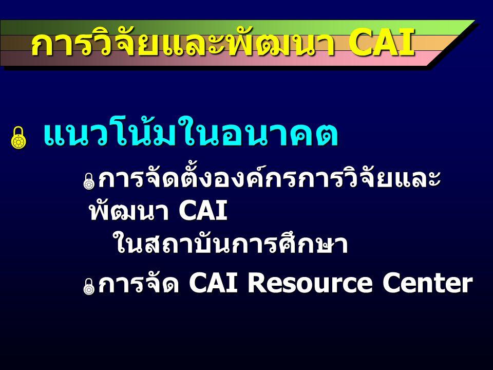 การวิจัยและพัฒนา CAI  แนวโน้มในอนาคต  การจัดตั้งองค์กรการวิจัยและ พัฒนา CAI ในสถาบันการศึกษา  การจัด CAI Resource Center