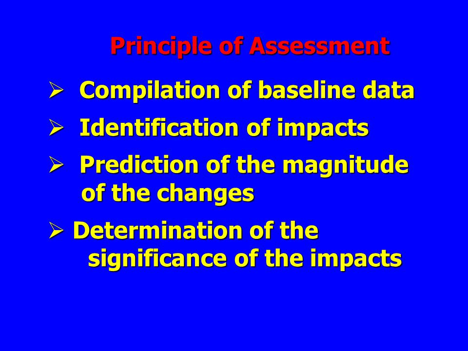 Principle of Assessment  Compilation of baseline data  Identification of impacts  Prediction of the magnitude of the changes of the changes  Deter
