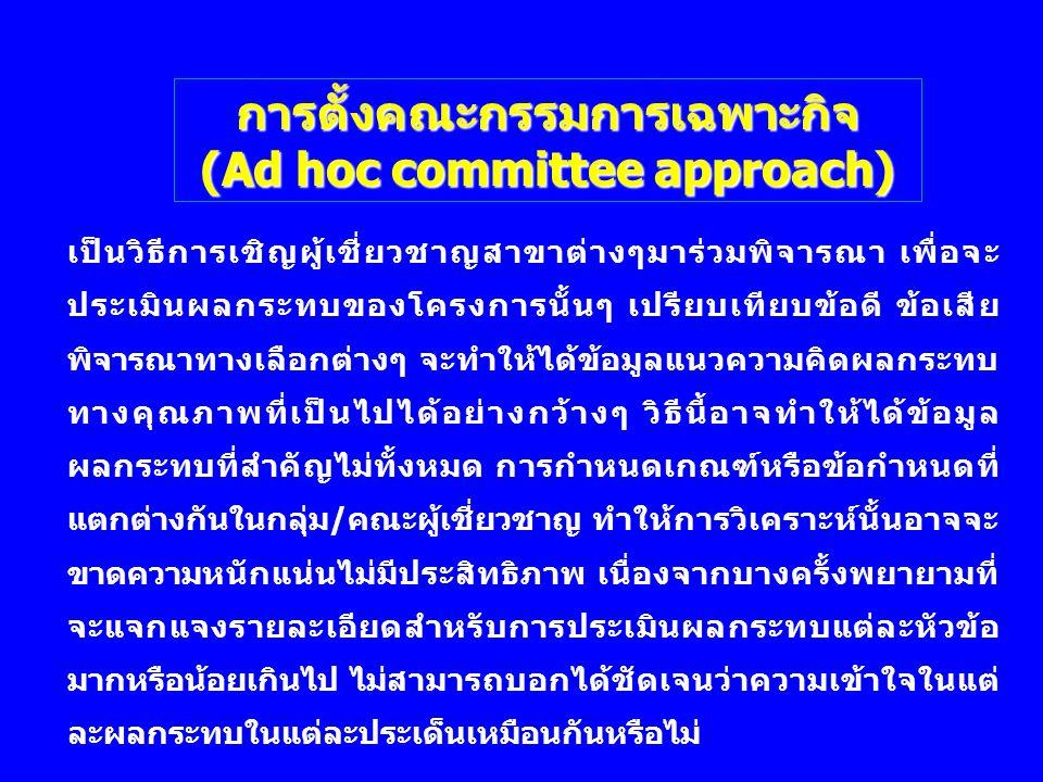 การตั้งคณะกรรมการเฉพาะกิจ (Ad hoc committee approach) เป็นวิธีการเชิญผู้เชี่ยวชาญสาขาต่างๆมาร่วมพิจารณา เพื่อจะ ประเมินผลกระทบของโครงการนั้นๆ เปรียบเท