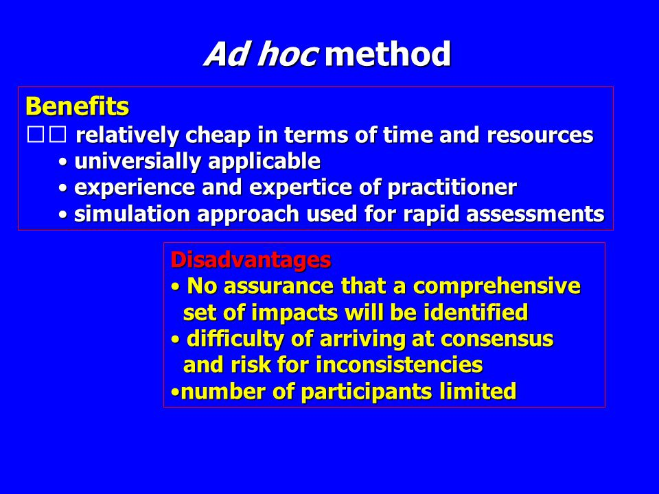 Ad hoc method Benefits relatively cheap in terms of time and resources • universially applicable • experience and expertice of practitioner • simulati
