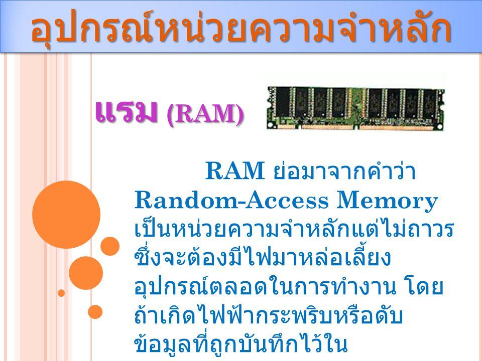 อุปกรณ์หน่วยความจำหลักอุปกรณ์หน่วยความจำหลัก แรม (RAM) RAM ย่อมาจากคำว่า Random-Access Memory เป็นหน่วยความจำหลักแต่ไม่ถาวร ซึ่งจะต้องมีไฟมาหล่อเลี้ยง