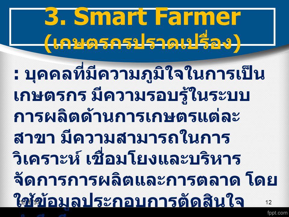 25/06/5712 3. Smart Farmer ( เกษตรกรปราดเปรื่อง ) : บุคคลที่มีความภูมิใจในการเป็น เกษตรกร มีความรอบรู้ในระบบ การผลิตด้านการเกษตรแต่ละ สาขา มีความสามาร