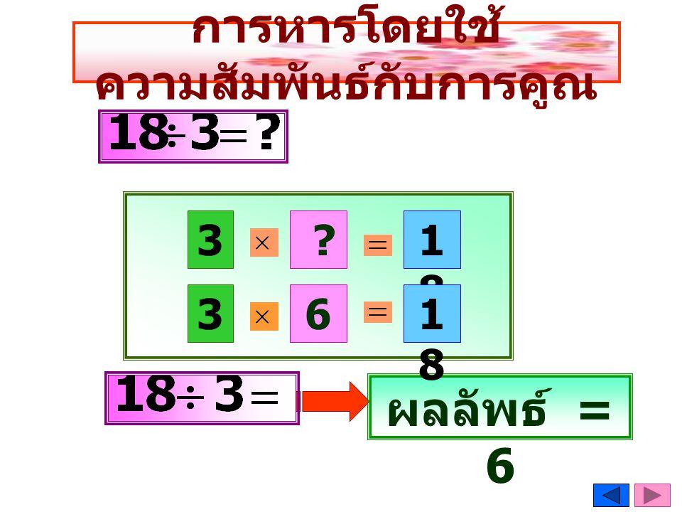 การหารโดยใช้ ความสัมพันธ์กับการคูณ 3 1818 6 ? 3 ผลลัพธ์ = 6 1818