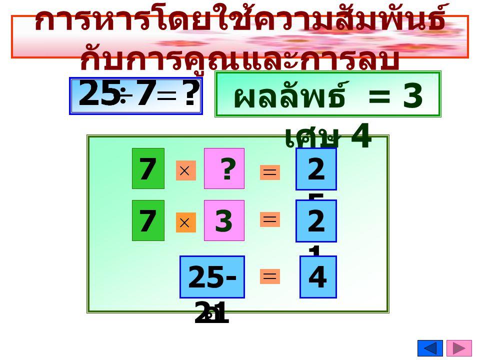 การหารโดยใช้ความสัมพันธ์ กับการคูณและการลบ 7 2525 3 ? 7 ผลลัพธ์ = 3 เศษ 4 2121 เหลื อ 25- 21 4