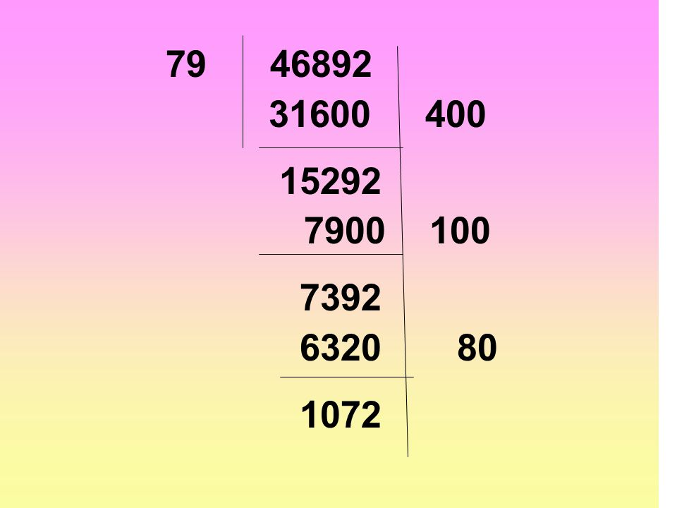 79 46892 31600 400 15292 7900 100 7392 6320 80 1072
