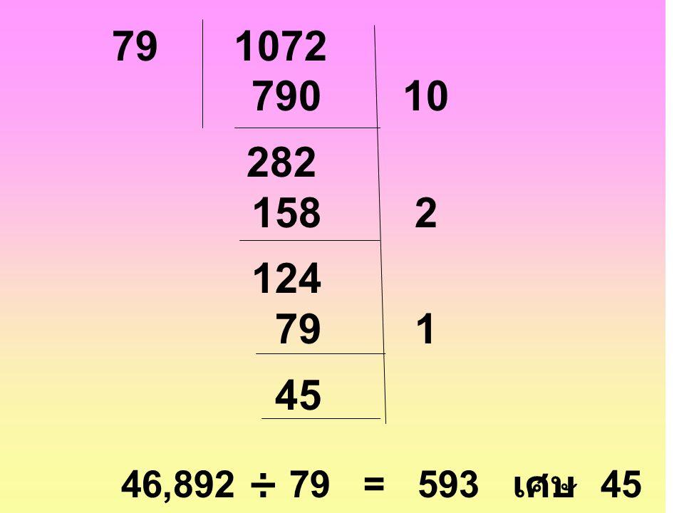 79 1072 790 10 282 158 2 124 79 1 45 46,892 ÷ 79 = 593 เศษ 45