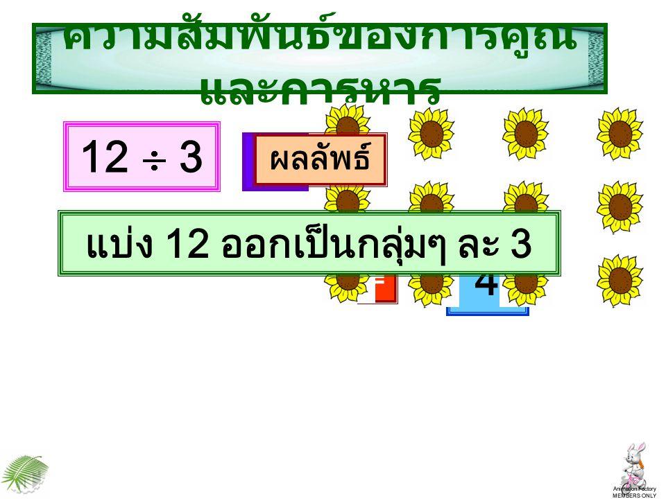 คือ 3 ความสัมพันธ์ของการคูณ และการหาร 12 4 แบ่ง 12 ออกเป็นกลุ่มๆ ละ 4 ผลลัพธ์ =