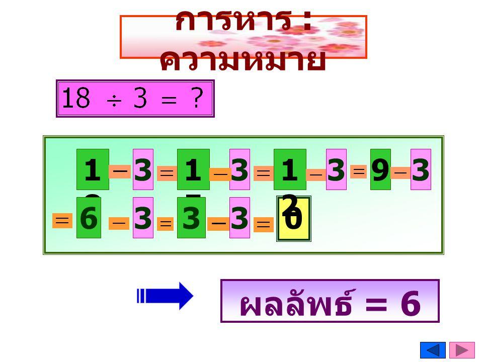 การหาร : ความหมาย 1818 1515 33 6333 0 1212 393 ผลลัพธ์ = 6