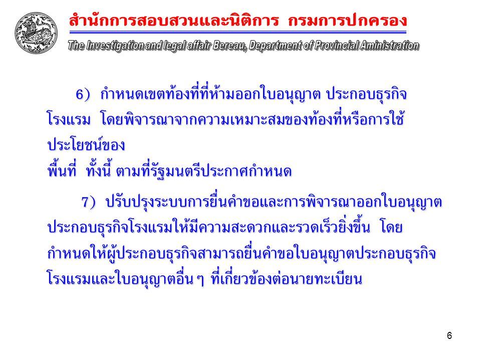6 6) กำหนดเขตท้องที่ที่ห้ามออกใบอนุญาต ประกอบธุรกิจ โรงแรม โดยพิจารณาจากความเหมาะสมของท้องที่หรือการใช้ ประโยชน์ของ พื้นที่ ทั้งนี้ ตามที่รัฐมนตรีประก