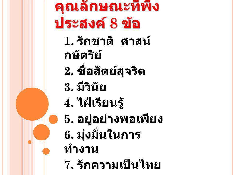 คุณลักษณะที่พึง ประสงค์ 8 ข้อ 1. รักชาติ ศาสน์ กษัตริย์ 2. ซื่อสัตย์สุจริต 3. มีวินัย 4. ไฝ่เรียนรู้ 5. อยู่อย่างพอเพียง 6. มุ่งมั่นในการ ทำงาน 7. รัก